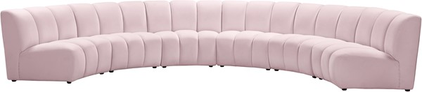 Meridian Furniture Infinity Pink Velvet 6pc Modular Sectional MRD-638Pink-6PC
