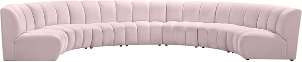 Meridian Furniture Infinity Pink Velvet 7pc Modular Sectional MRD-638Pink-7PC