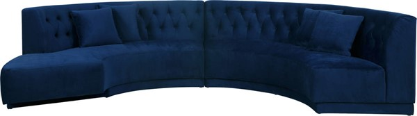 Meridian Furniture Kenzi Navy Velvet 2pc Sectional MRD-641Navy-Sectional