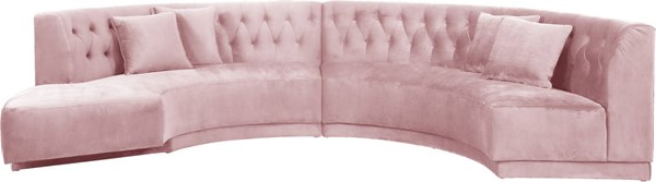Design Edge Ulladulla  Pink Velvet 2pc Sectional DE-23272186