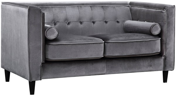 Design Edge Goombungee  Grey Velvet Loveseat DE-21991951