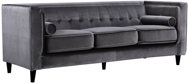 Design Edge Goombungee  Grey Velvet Sofa DE-21991961