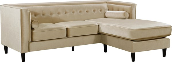 Design Edge Goombungee  Beige Velvet 2pc Reversible Sectional DE-22610991