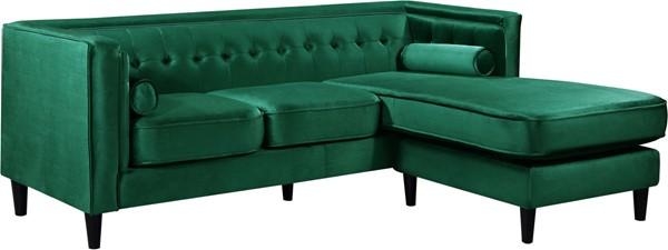 Meridian Furniture Taylor Green Velvet 2pc Reversible Sectional MRD-643Green-Sectional