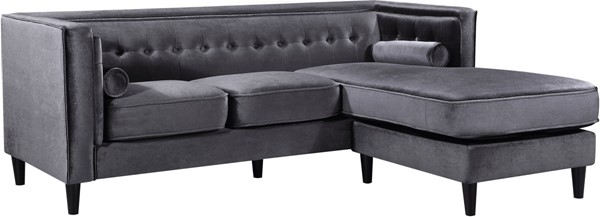 Meridian Furniture Taylor Grey Velvet 2pc Reversible Sectional MRD-643Grey-Sectional