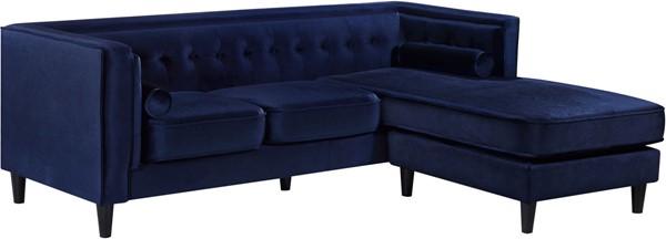 Meridian Furniture Taylor Navy Velvet 2pc Reversible Sectional MRD-643Navy-Sectional