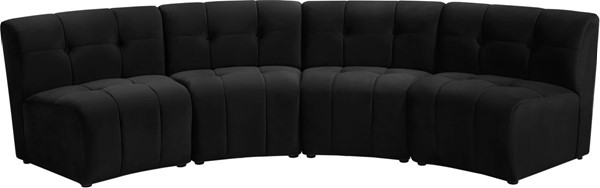 Meridian Furniture Limitless Black Velvet 4pc Modular Sectional MRD-645Black-4PC
