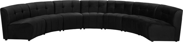 Meridian Furniture Limitless Black Velvet 7pc Modular Sectional MRD-645Black-7PC