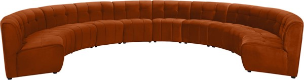Meridian Furniture Limitless Cognac Velvet 10pc Modular Sectional MRD-645Cognac-10PC