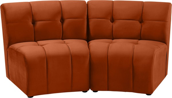 Meridian Furniture Limitless Cognac Velvet Modular Loveseat MRD-645Cognac-2PC