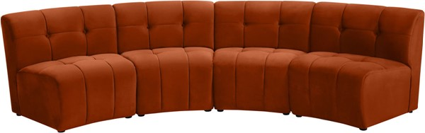 Meridian Furniture Limitless Cognac Velvet 4pc Modular Sectional MRD-645Cognac-4PC