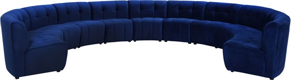 Meridian Furniture Limitless Navy Velvet 11pc Modular Sectional MRD-645Navy-11PC