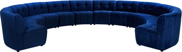 Meridian Furniture Limitless Navy Velvet 12pc Modular Sectional MRD-645Navy-12PC