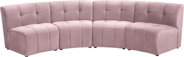Meridian Furniture Limitless Pink Velvet 4pc Modular Sectional MRD-645Pink-4PC