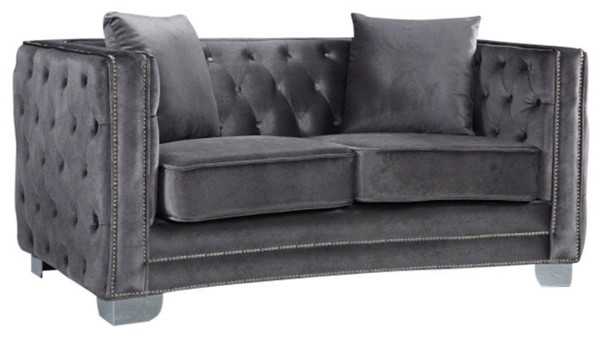 Design Edge Camooweal  Grey Velvet Loveseat DE-21992929