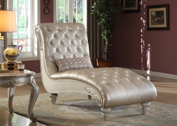 Meridian Furniture Marquee Pearl White Chaise The Classy