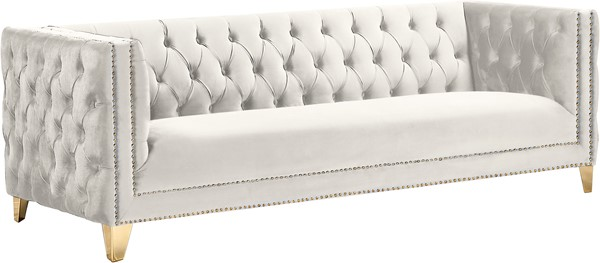 Meridian Furniture Michelle Cream Velvet Sofa MRD-652Cream-S