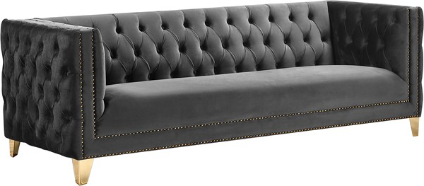 Meridian Furniture Michelle Grey Velvet Sofa MRD-652Grey-S
