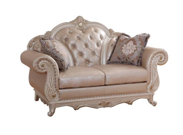 Meridian Furniture Marquee Pearl White Loveseat The Classy Home