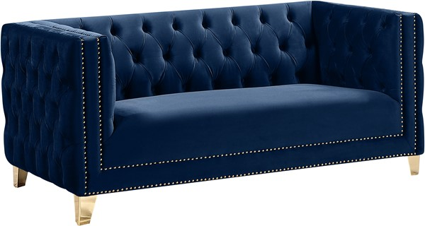 Meridian Furniture Michelle Navy Velvet Loveseat MRD-652Navy-L