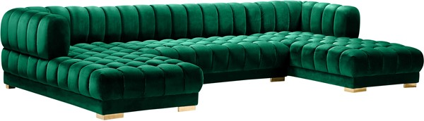 Meridian Furniture Gwen Green Velvet 3pc Sectional MRD-653Green-Sectional