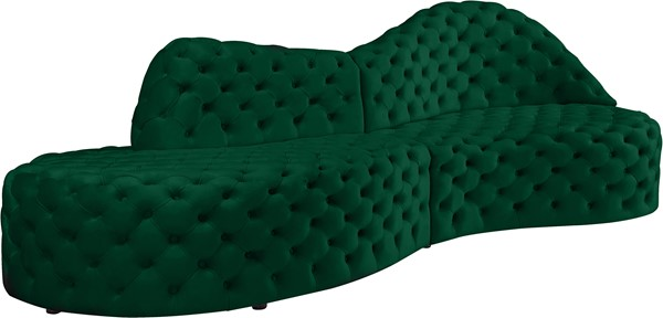 Meridian Furniture Royal Green Velvet 2pc Sectional MRD-654Green-Sectional