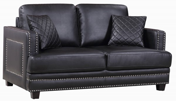 Design Edge Paterson  Black Bonded Leather Loveseat DE-21993380