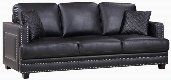 Design Edge Paterson  Black Bonded Leather Sofa DE-21993400