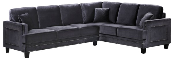Meridian Furniture Ferrara Grey Velvet 2pc Sectional MRD-655GRY-Sectional