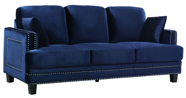 Meridian Furniture Ferrara Navy Velvet Sofa MRD-655Navy-S