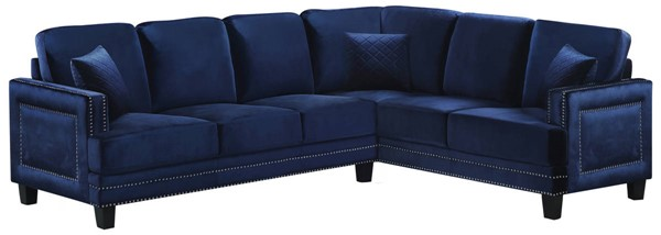 Design Edge Paterson  Navy Velvet 2pc Sectional DE-21993680