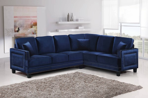 Meridian Furniture Ferrara Navy 2pc Sectional MRD-655Navy-Sectional