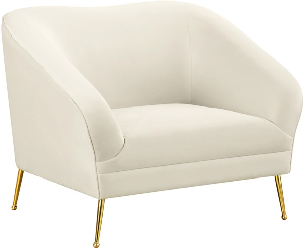 Meridian Furniture Hermosa Cream Velvet Chair MRD-658Cream-C