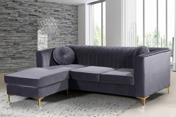 Meridian Furniture Eliana Grey Velvet 2pc Reversible Sectional MRD-660Grey-Sectional