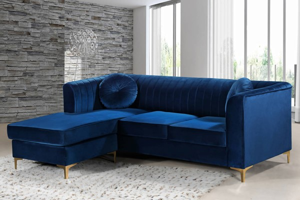 Design Edge Nundle  Navy Velvet 2pc Reversible Sectional DE-22456546