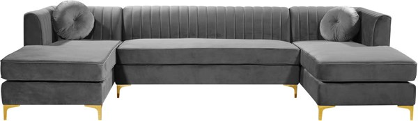 Design Edge Rylstone  Grey Velvet 3pc Sectional DE-22821444