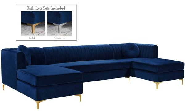 Meridian Furniture Graham Navy 3pc Sectional MRD-661Navy-Sectional