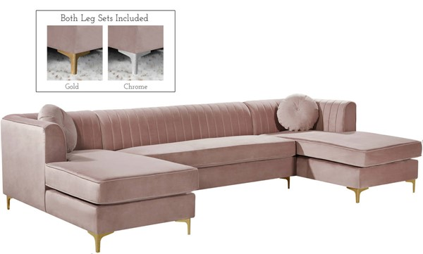 Meridian Furniture Graham Pink 3pc Sectional MRD-661Pink-Sectional
