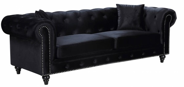 Meridian Furniture Chesterfield Black Velvet Sofa MRD-662BL-S