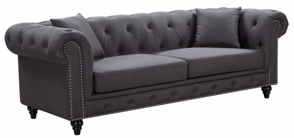 Meridian Furniture Chesterfield Grey Linen Sofa MRD-662GRY-S