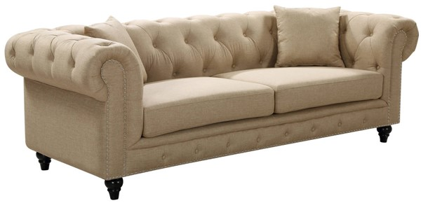 Meridian Furniture Chesterfield Sand Linen Sofa MRD-662Sand-S