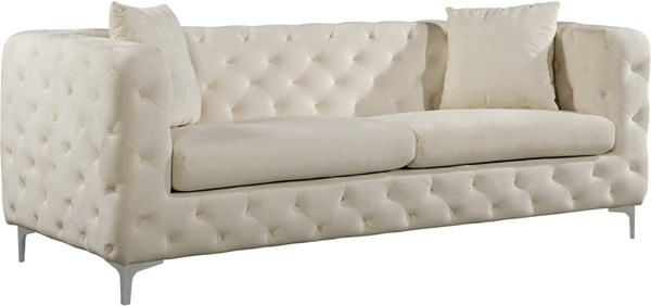 Meridian Furniture Scarlett Cream Velvet Sofa MRD-663Cream-S