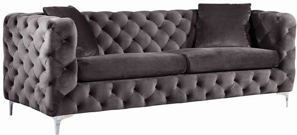 Meridian Furniture Scarlett Grey Velvet Sofa MRD-663Grey-S