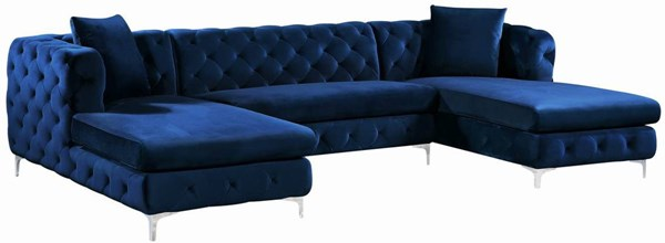 Meridian Furniture Gail Navy Velvet 3pc Sectional MRD-664Navy-Sectional