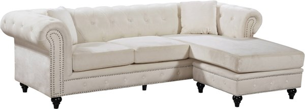 Design Edge Clifton  Cream Velvet 2pc Reversible Sectional DE-22250644