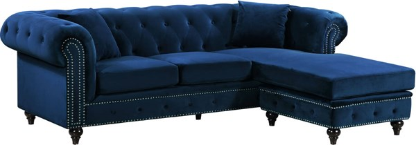 Meridian Furniture Sabrina Navy 2pc Sectional MRD-667Navy-Sectional