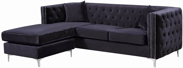 Meridian Furniture Jesse Black Velvet 2pc Reversible Sectional MRD-668Black-Sectional