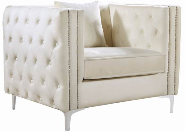 Meridian Furniture Jesse Cream Velvet Chair MRD-668Cream-C
