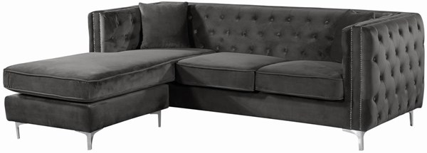 Meridian Furniture Jesse Grey 2pc Sectional MRD-668Grey-Sectional