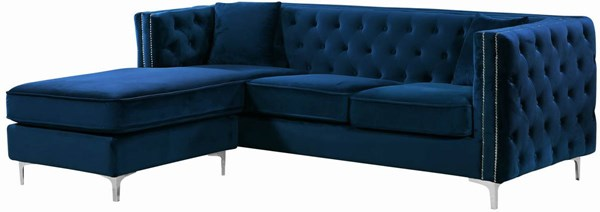 Design Edge Tingha  Navy Velvet 2pc Reversible Sectional DE-22249194
